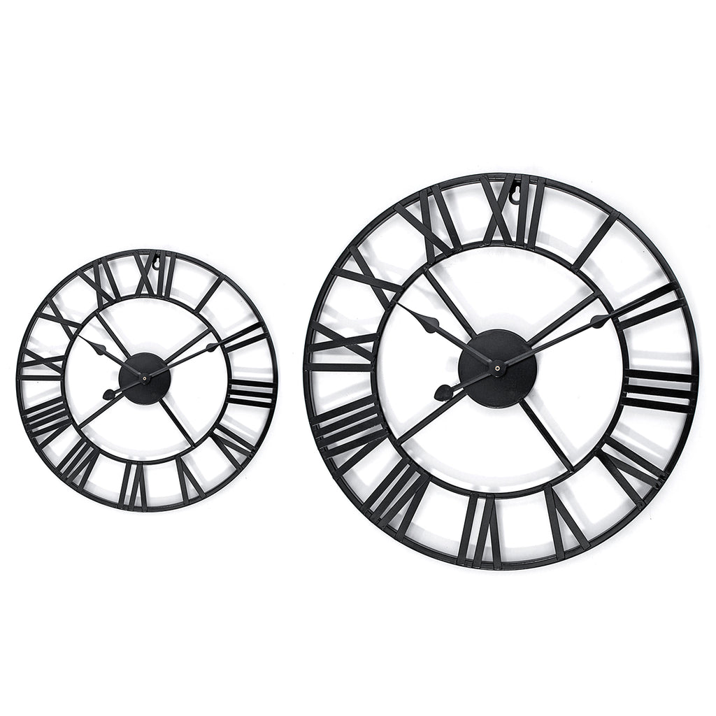 Copy of 40/60cm Large Metal Skeleton Roman Numeral Wall Clock Black Round Shape