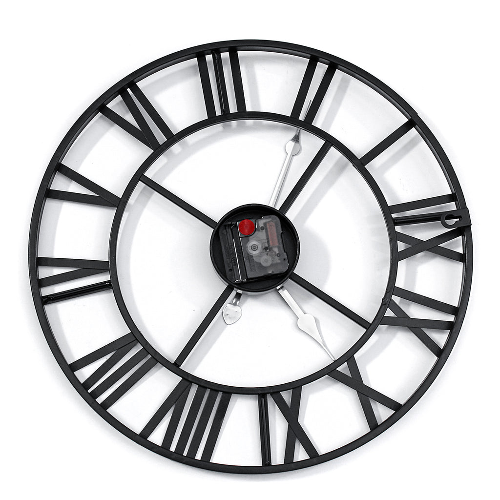 40/60cm Large Metal Skeleton Roman Numeral Wall Clock Black Round Shape