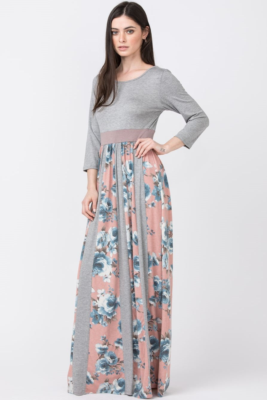 Grey & Pink Mixed Floral Maxi Dress