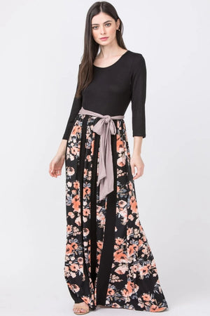 Black & Coral Mixed Floral Mocha Sash Maxi Dress