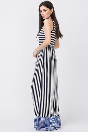 Navy Stripe Gingham Ruffle Bottom Maxi Dress