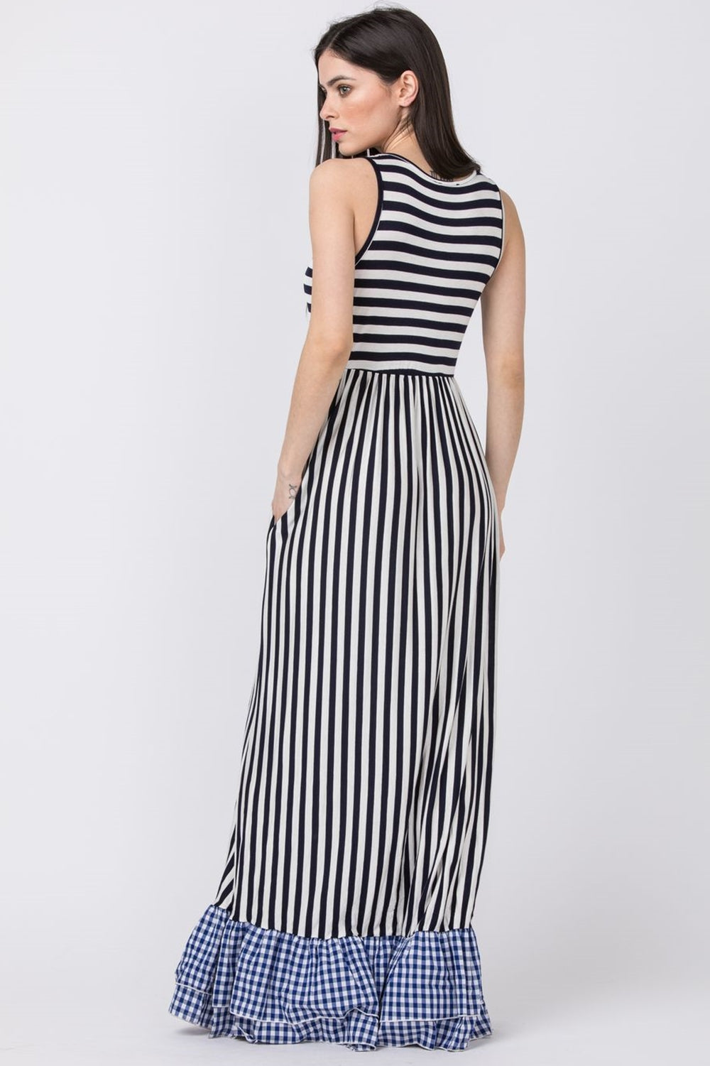 Navy Stripe Gingham Ruffle Bottom Maxi Dress_Plus
