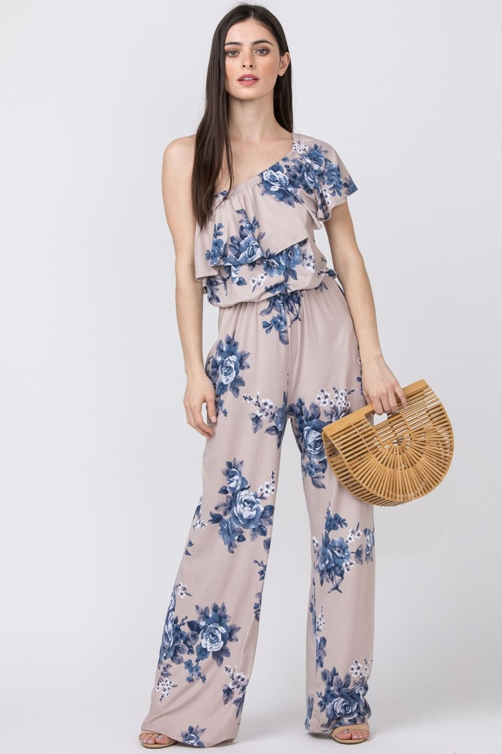 Mocha Floral One Shoulder Jumpsuit