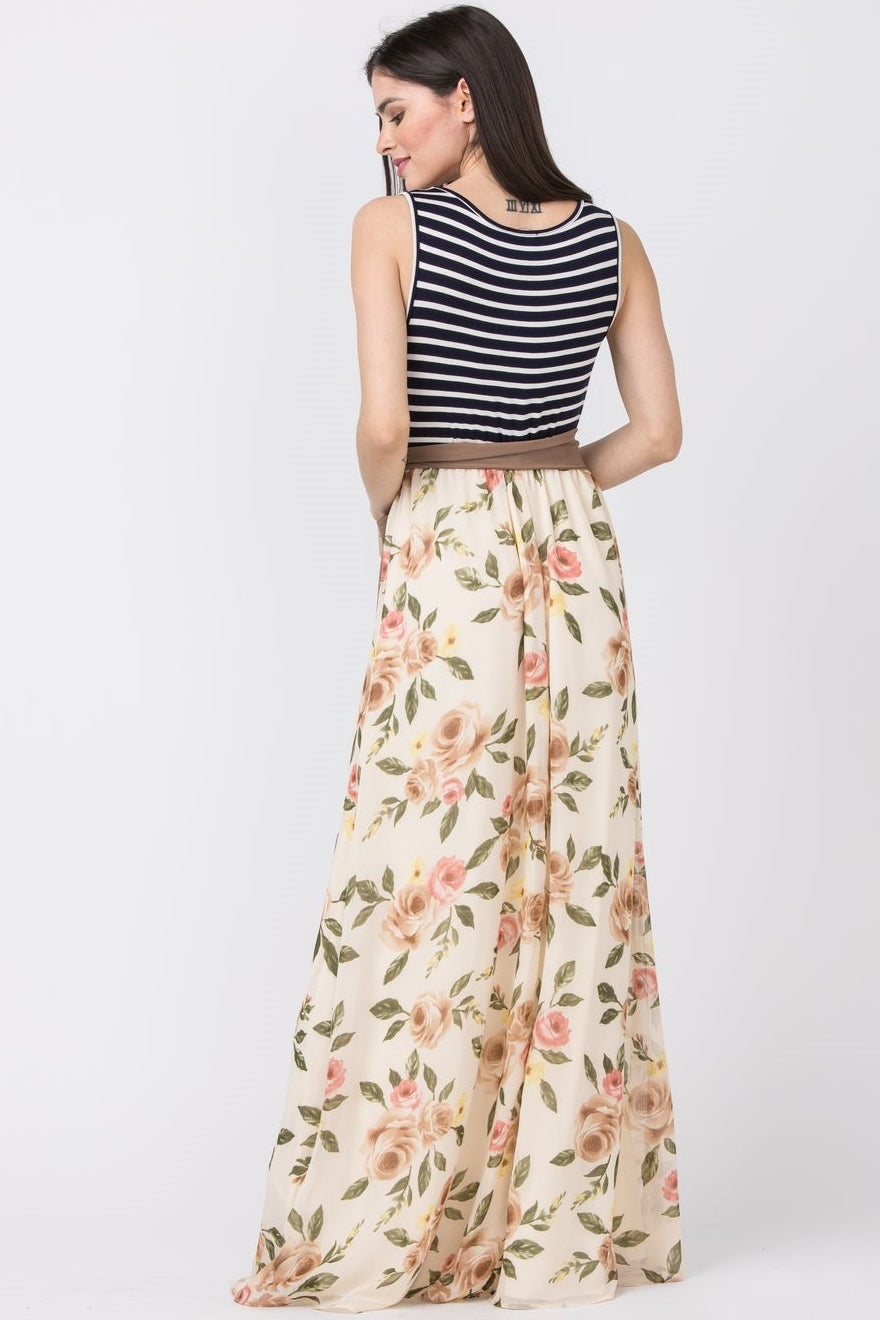 Mocha Sash Cream Floral Sleeveless Maxi Dress