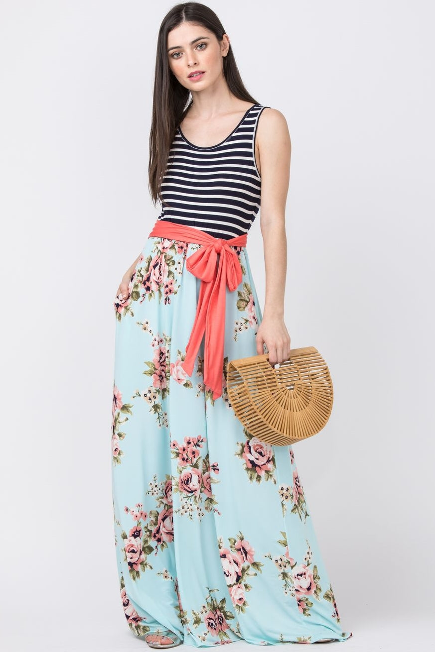 Coral Sash Mint Sleeveless Maxi Dress