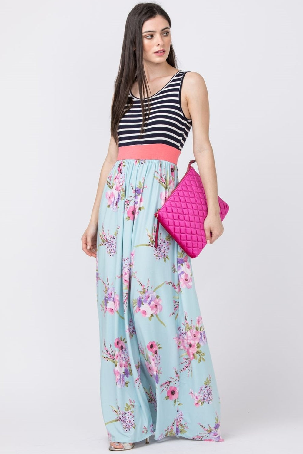 Navy Stripe Mint Floral Maxi Dress_Plus