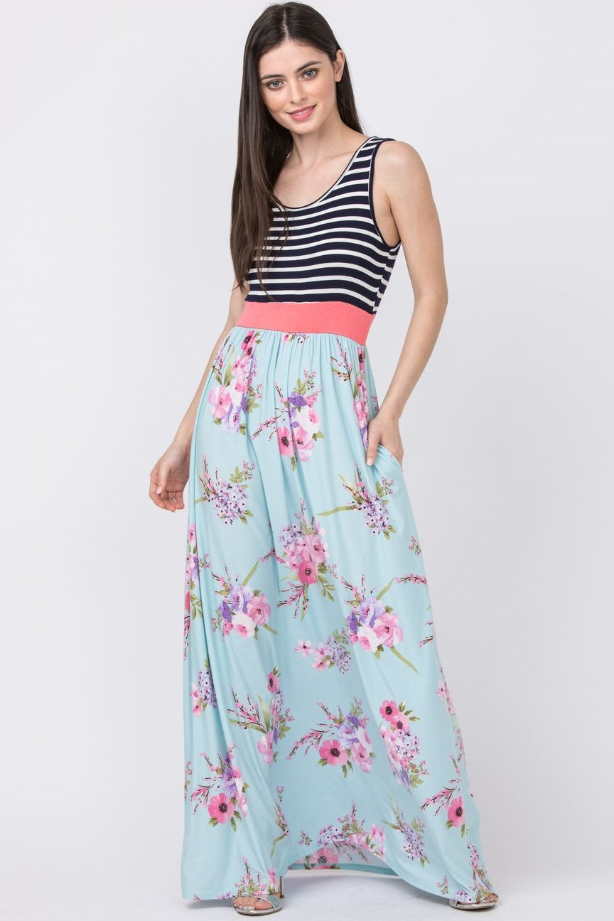 Navy Stripe Mint Floral Maxi Dress