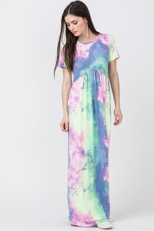 Tie Dye Short Sleeve Maxi Dress