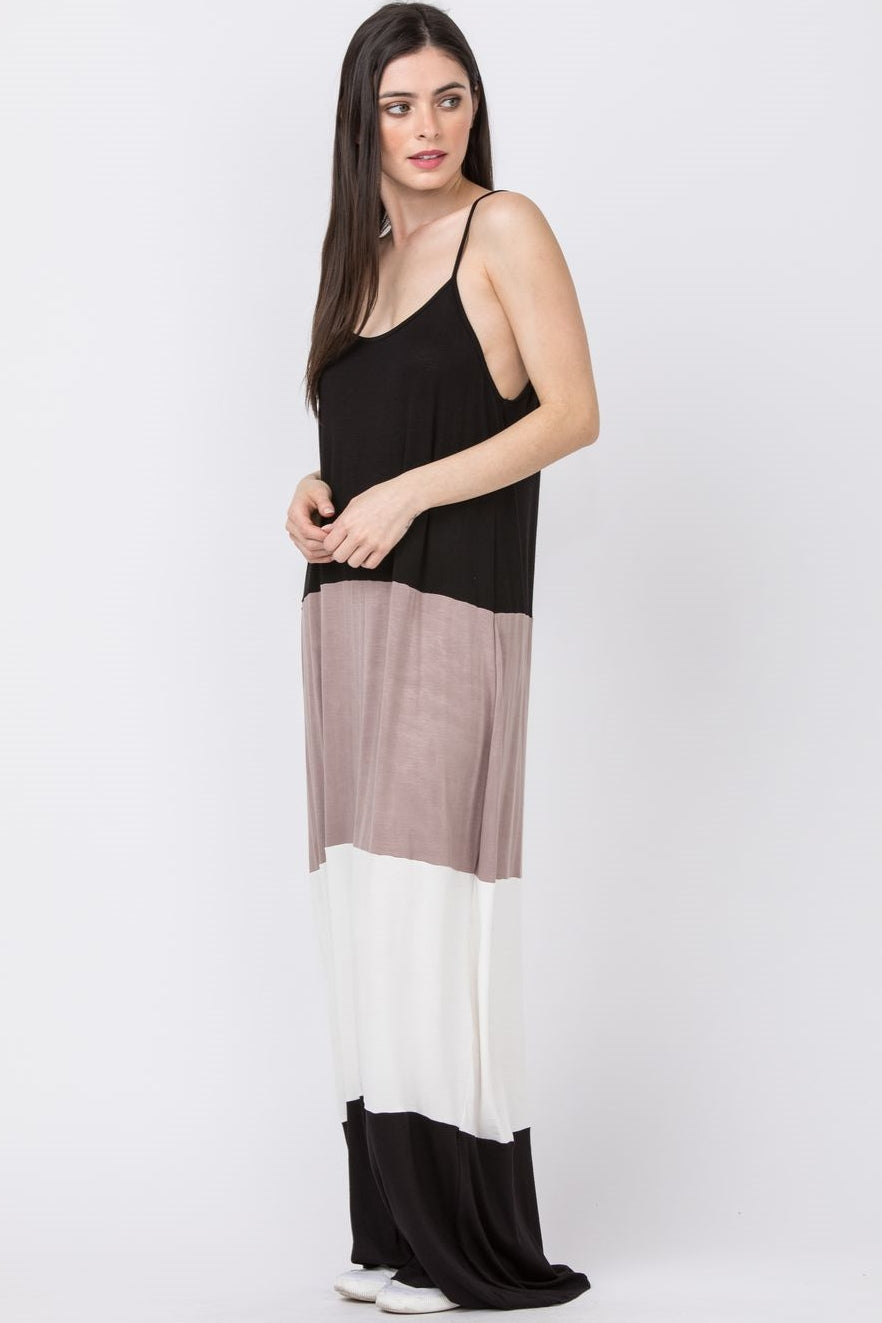 Black & Mocha Singlet Color Block Maxi Dress