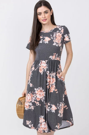 Charcoal Floral Short Sleeve Round Hem Midi Dress