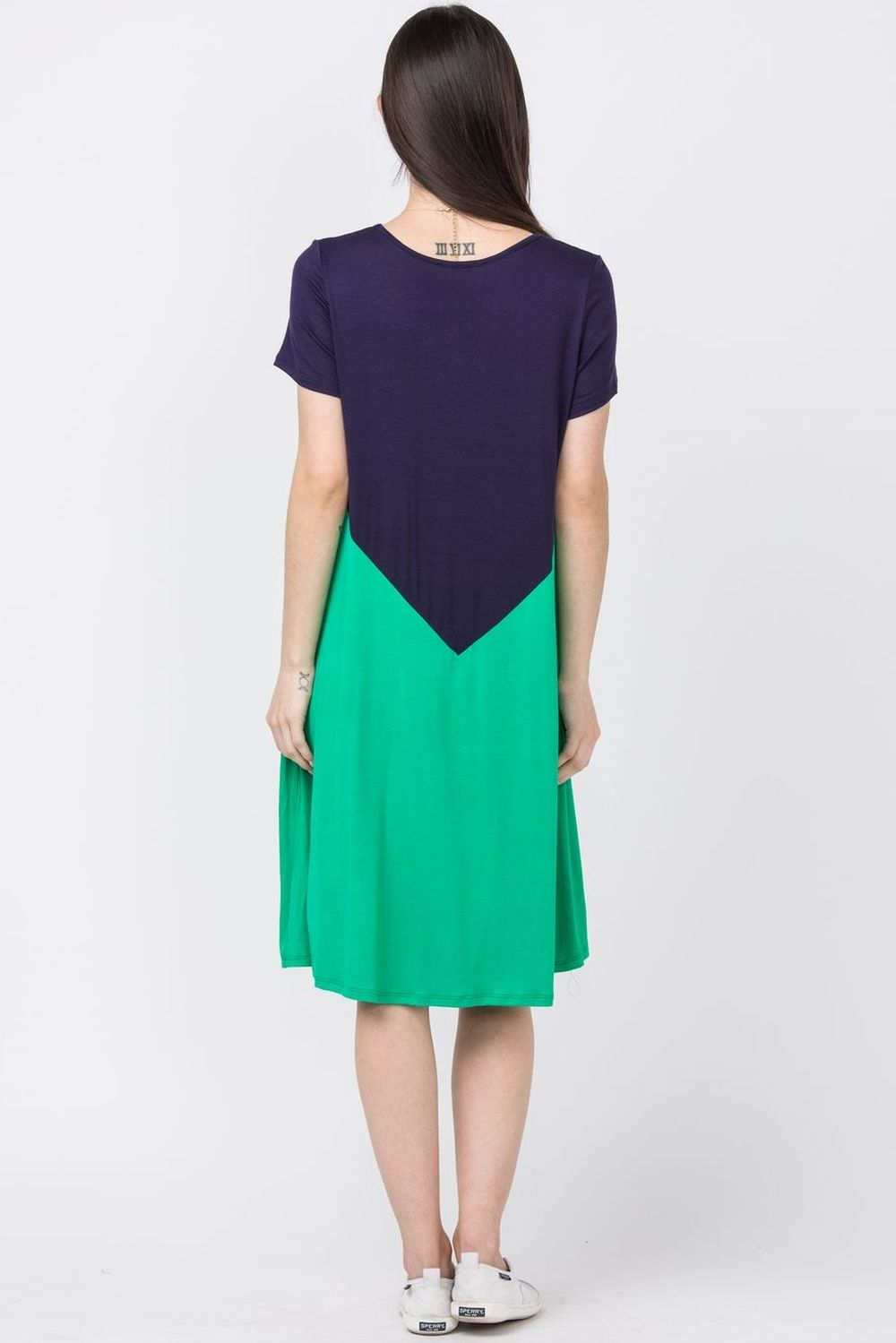 Navy & Green A-Line Midi Dress_Plus