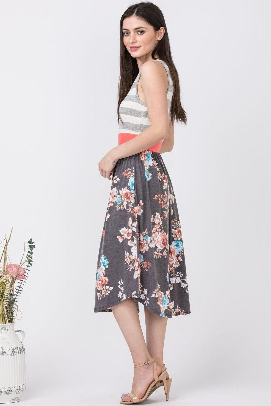 Grey Stripe Charcoal Floral Midi Dress