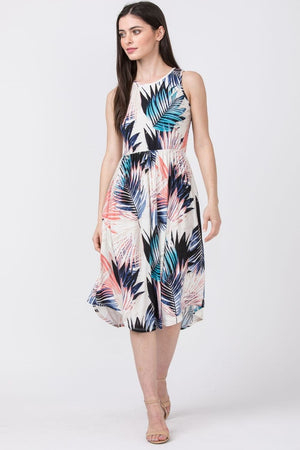 Tropical Leaves Midi Dress
