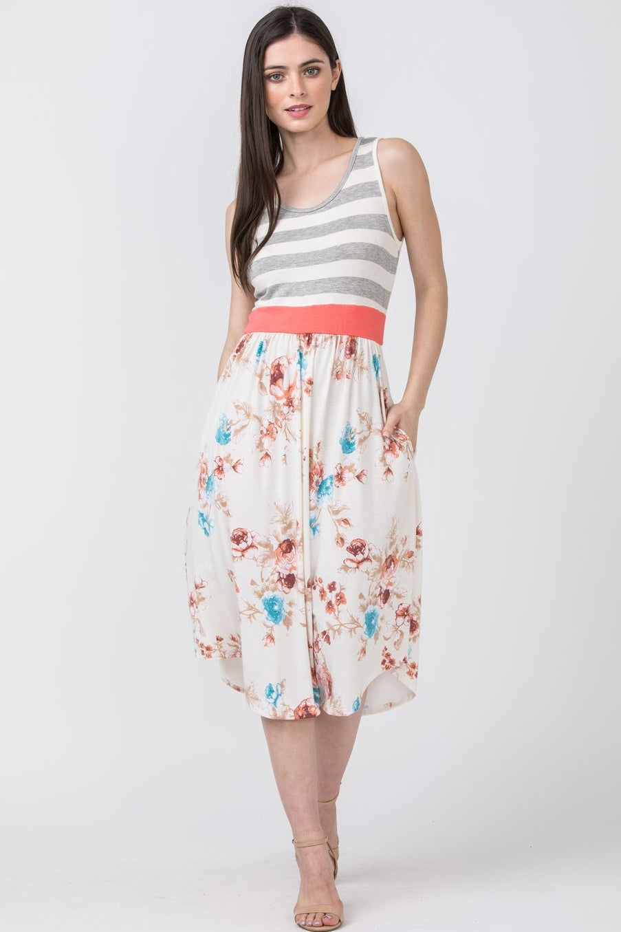 Grey Stripe Sleeveless Ivory Floral Midi Dress