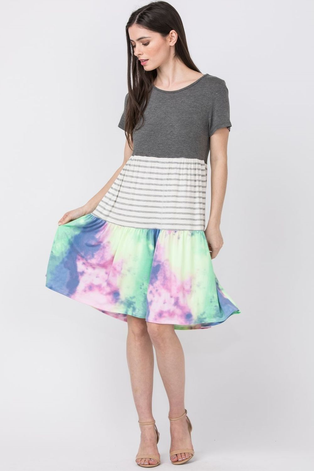 Short Sleeve Charcoal Pastel Tie Dye Tiered Dress_Plus