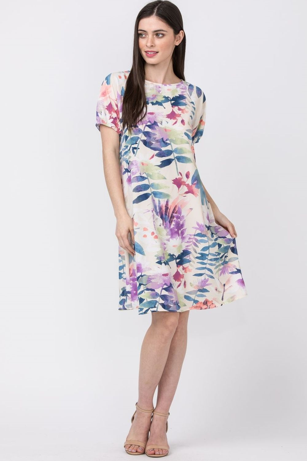 Ivory & Lilac Floral Short Sleeve Shift Mini Dress