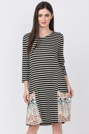 Black Stripe 3/4 Sleeve Dress with Floral Chiffon Pockets