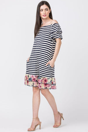 Navy Stripe Double Ruffle Off Shoulder Dress