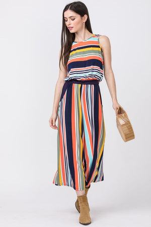Orange Stripe Surplice Back Blouson Jumpsuit