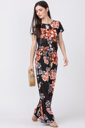 Black & Coral Floral Short Sleeve Jumpsuit