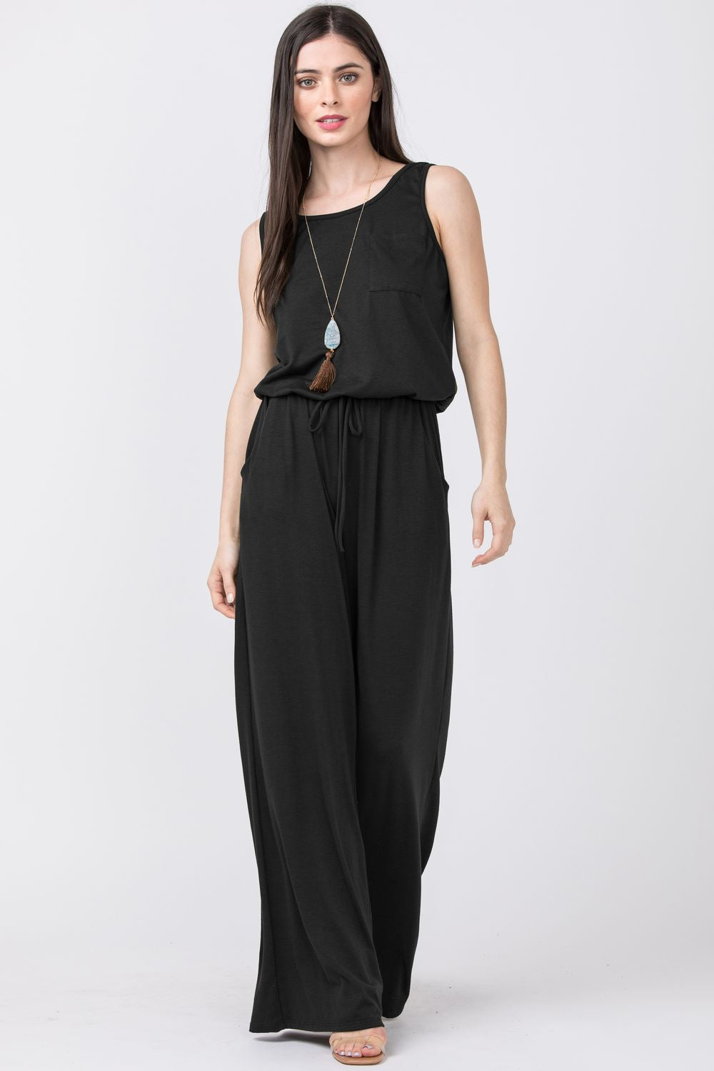 Black Sleeveless Drawstring Jumpsuit with Front Pocket