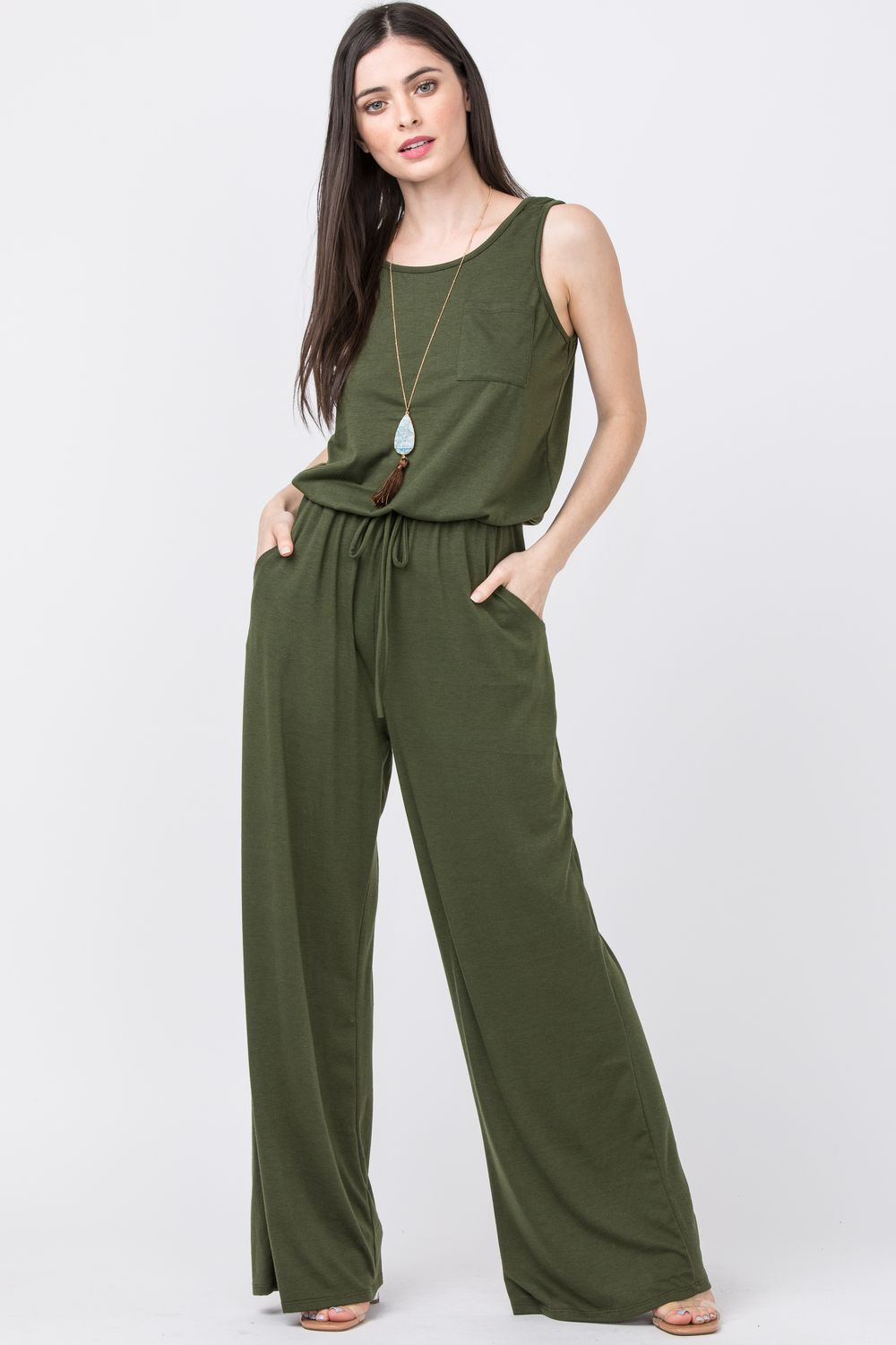 Olive Sleeveless Drawstring Jumpsuit with Front Pocket
