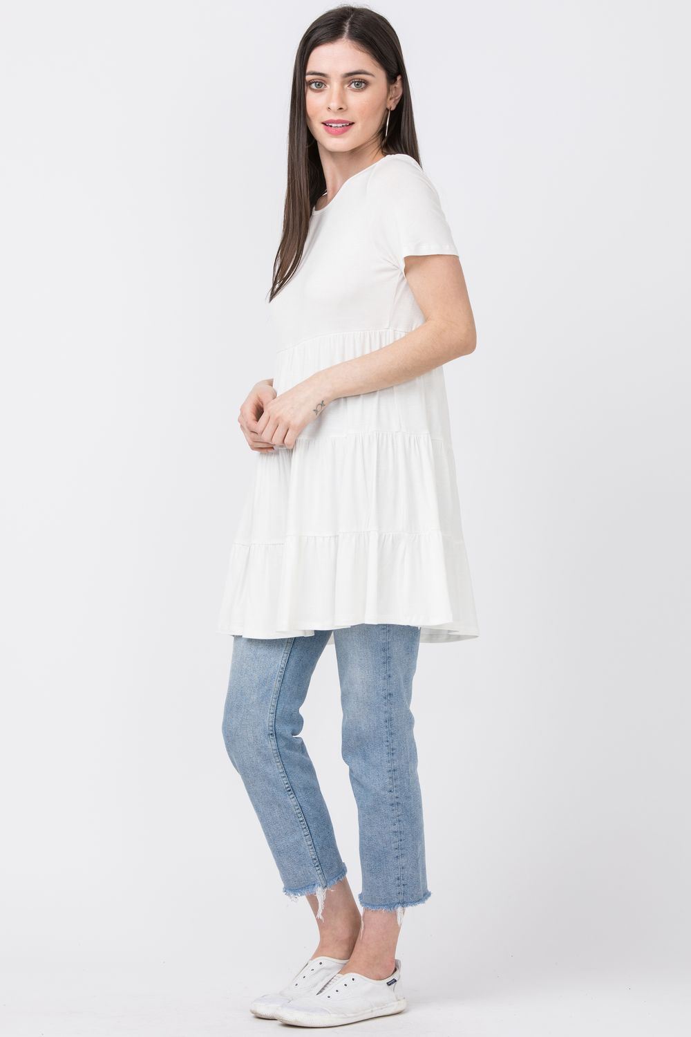 White Short Sleeve Tiered Tunic