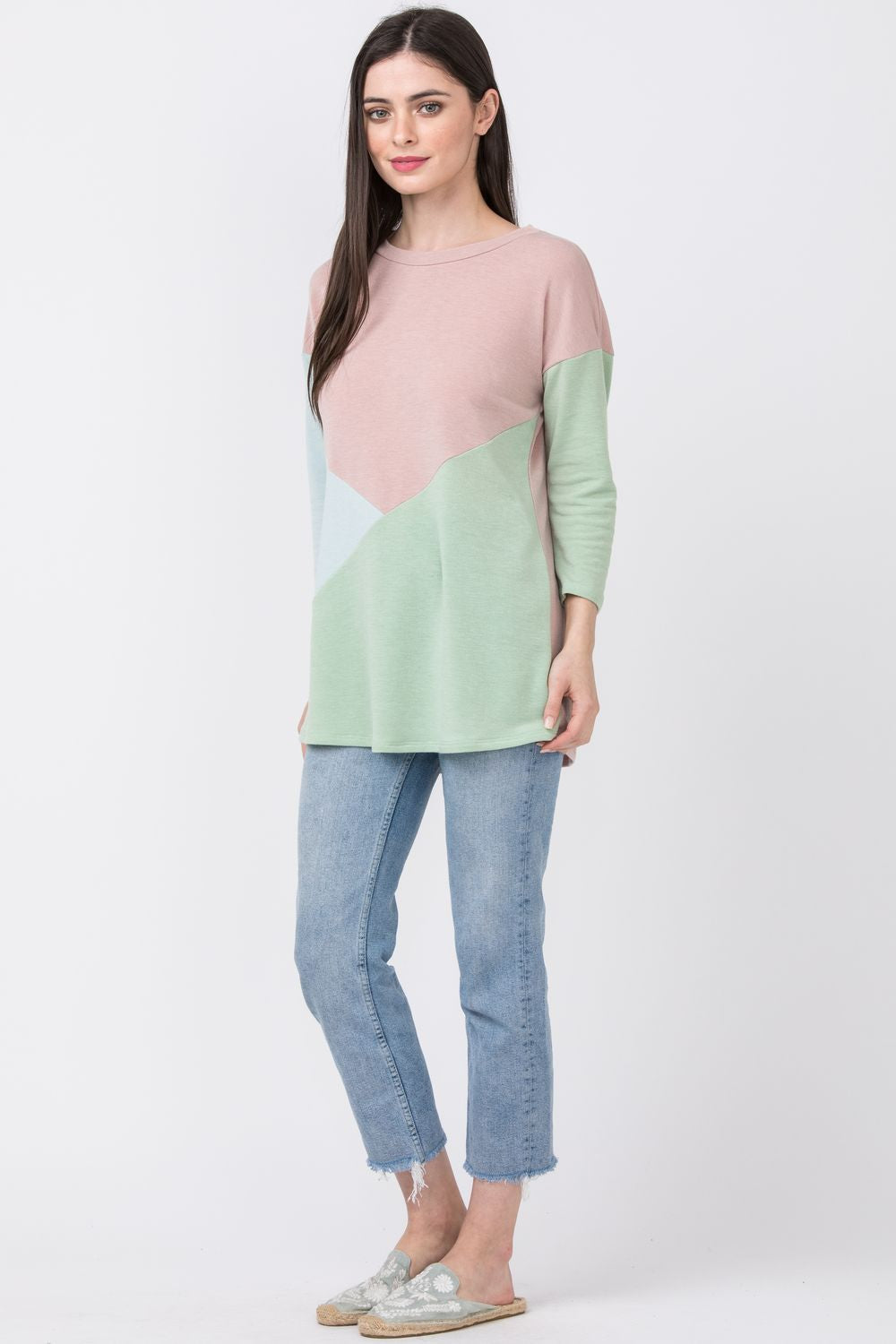Pink Mint & Sage Cross Color Block Top
