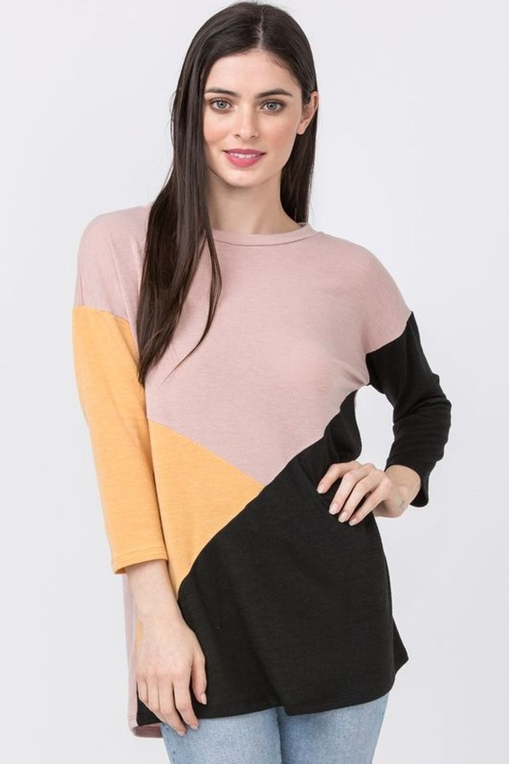 3/4 Sleeve Cross Tunic Top