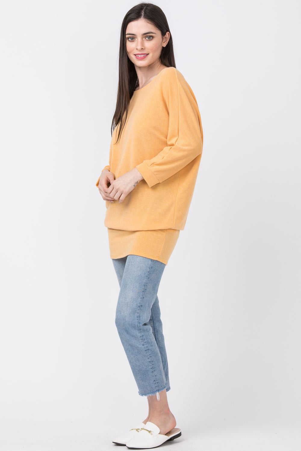 Solid Orange Blouson Dolman Tunic