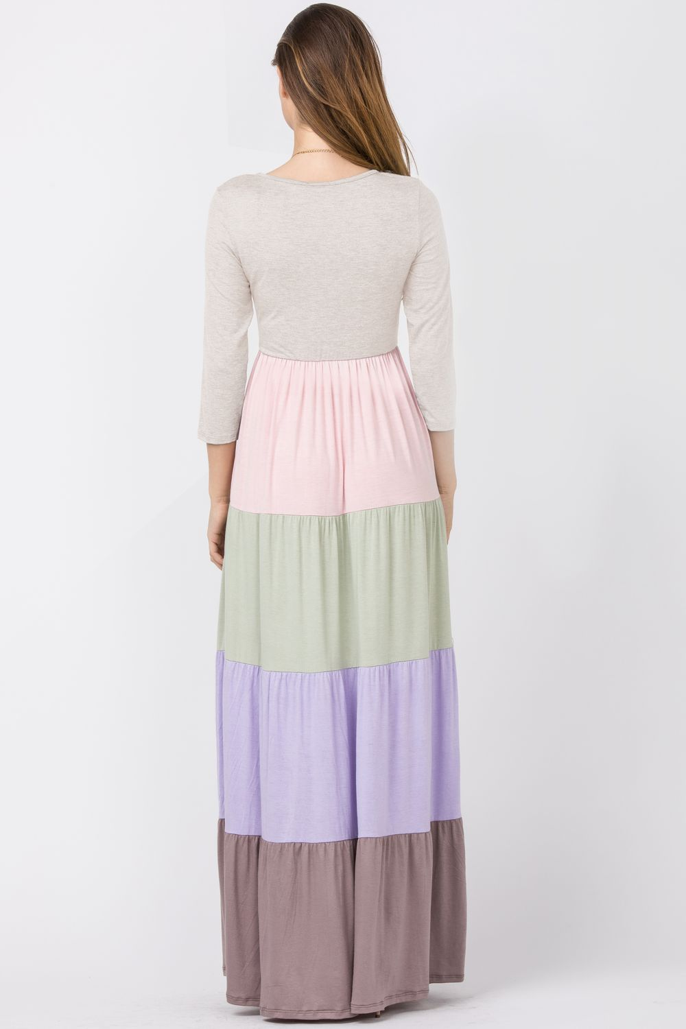 Oatmeal Color-Block Tiered Maxi Dress