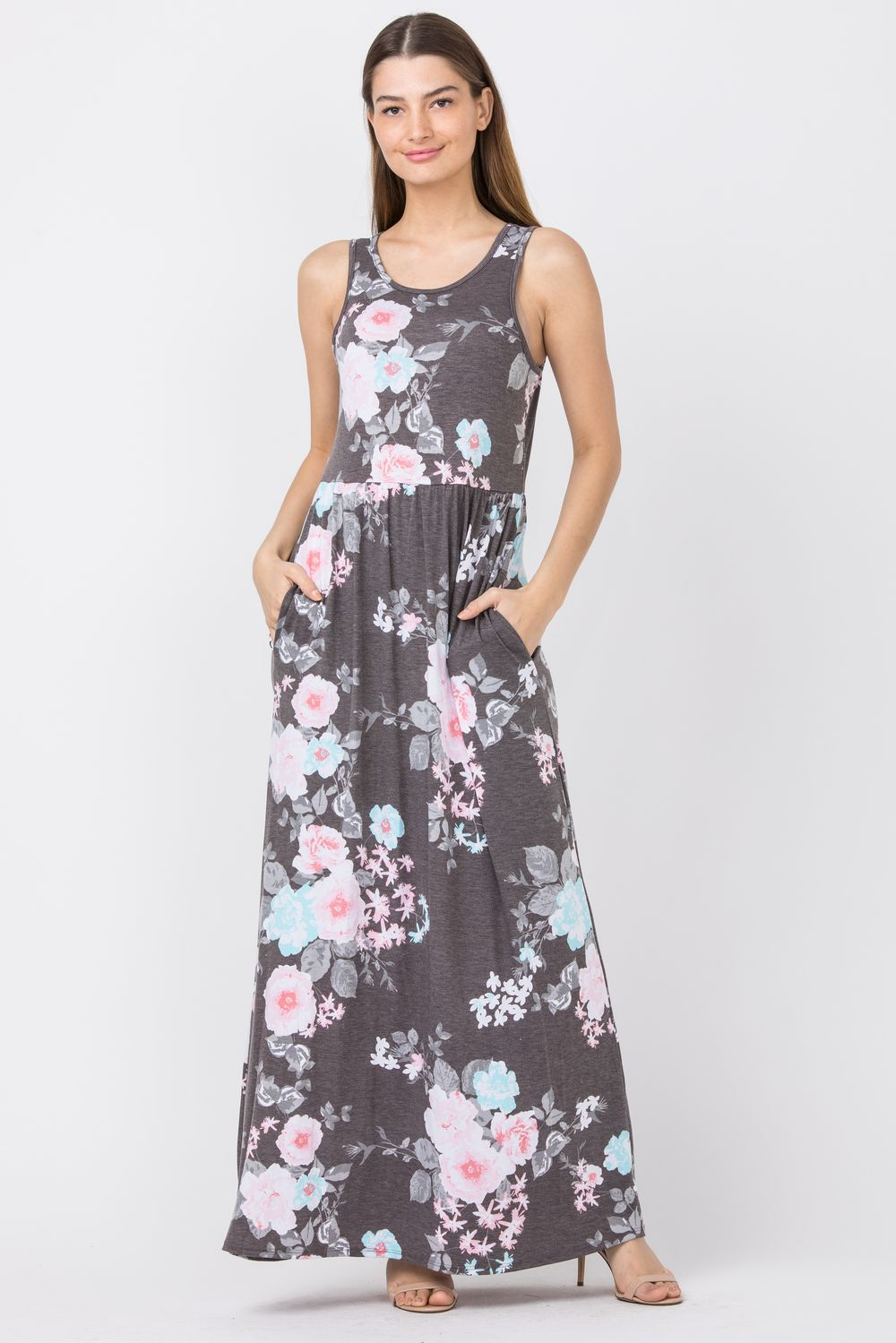 Vintage Charcoal Floral Sleeveless Maxi Dress