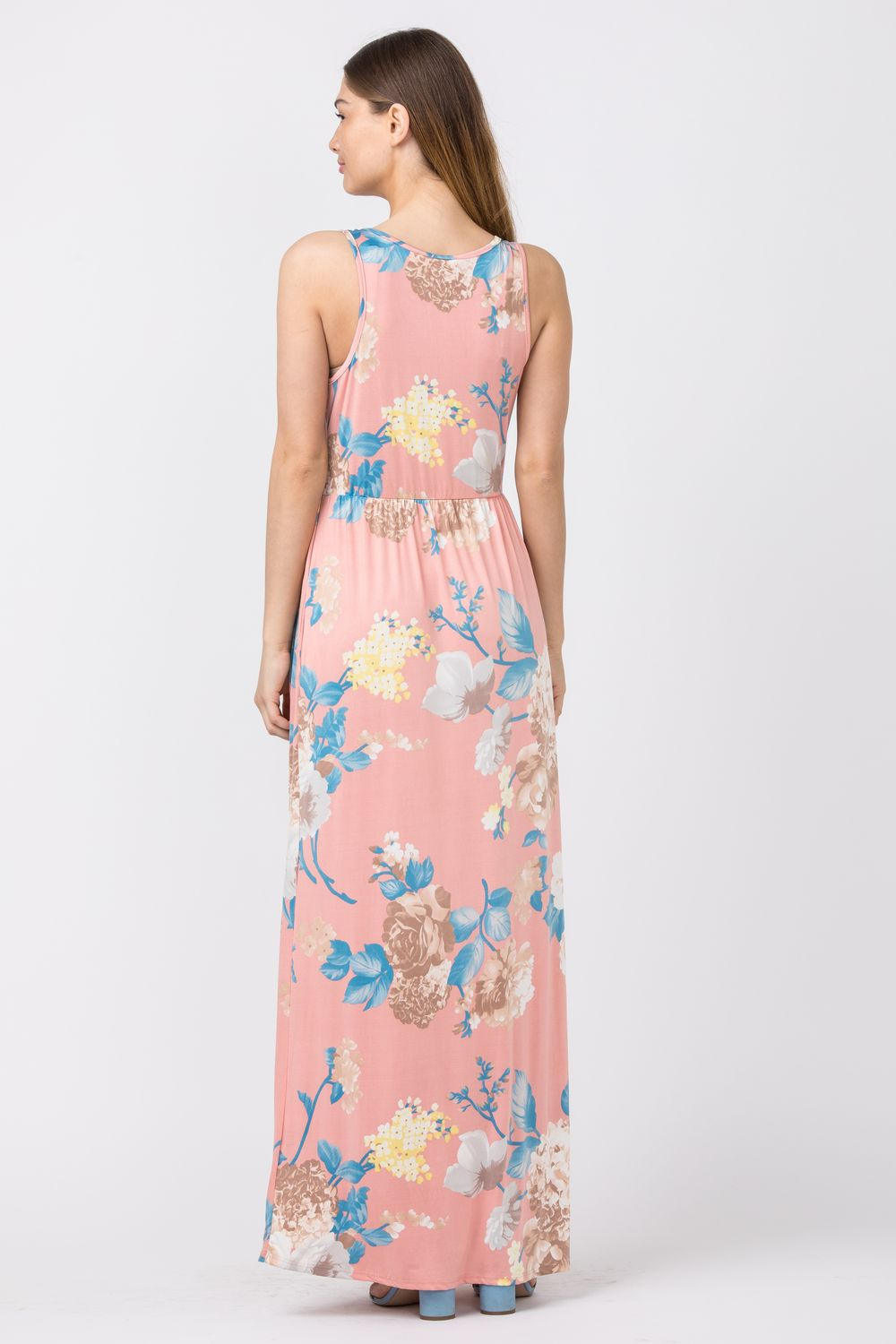 Dust Pink White Floral Maxi Dress