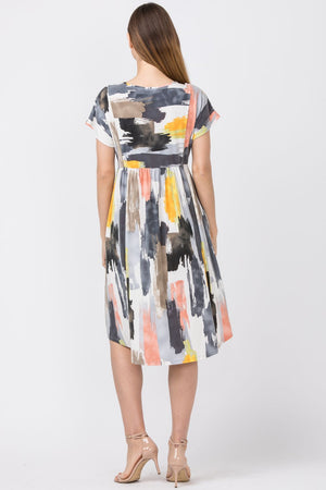 Charcoal & Pink Water Color Short Sleeve Midi Dress