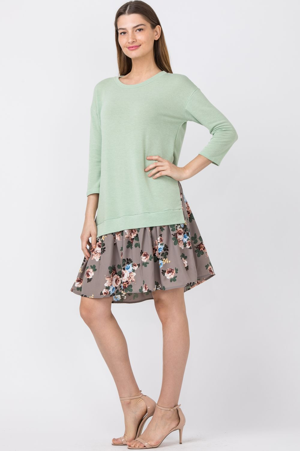 Sage & Mocha Floral Layered Pullover Dress