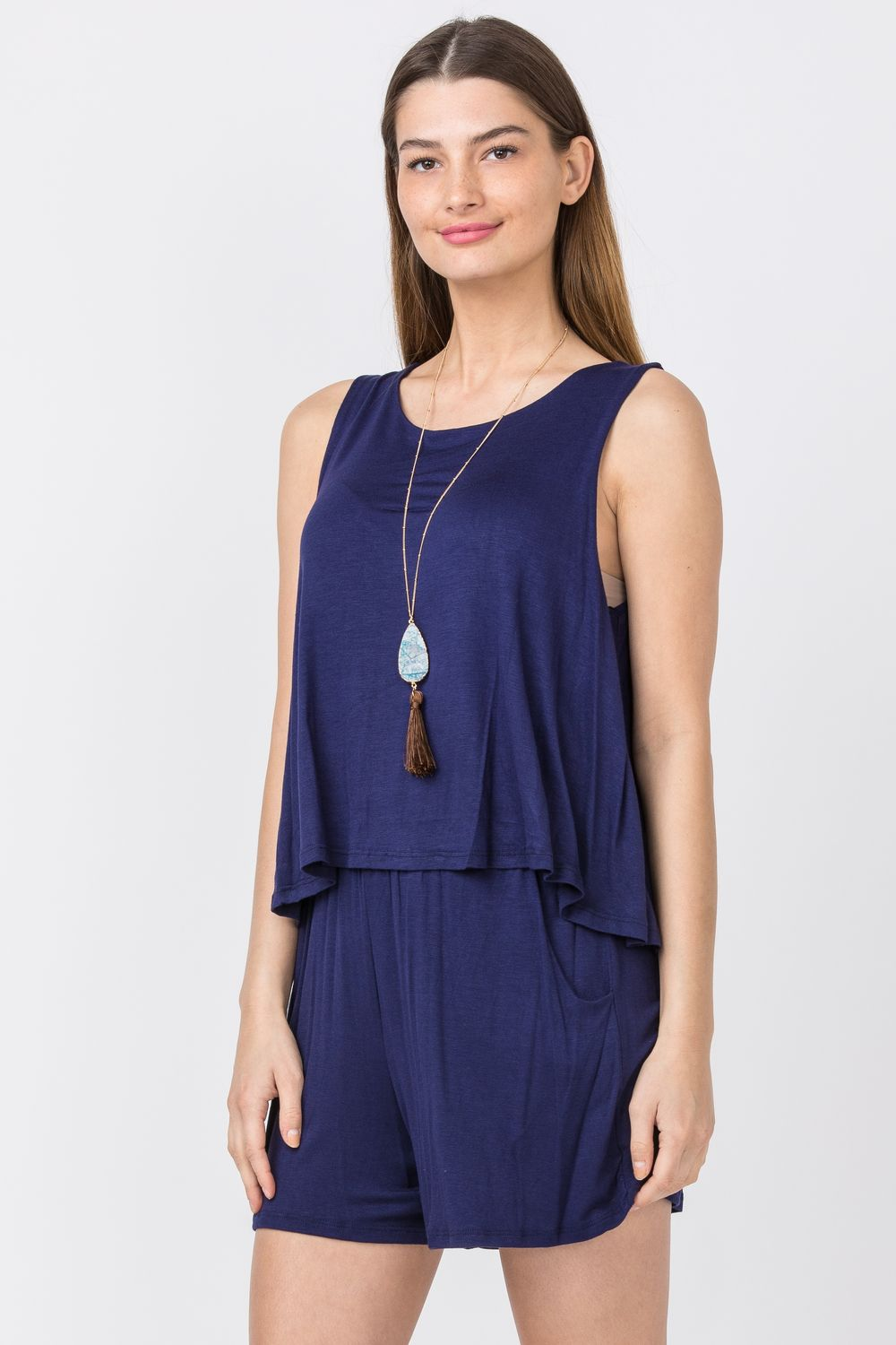 Solid Navy Layered Romper