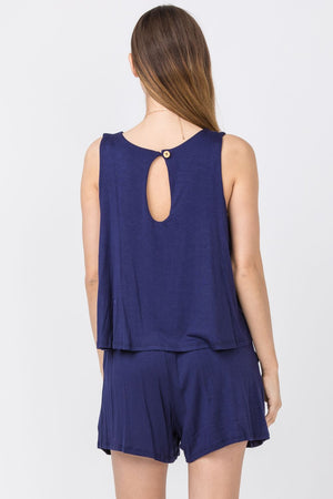Solid Navy Layered Romper_Plus