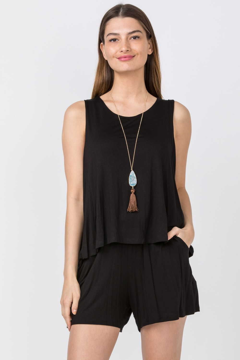Solid Black Layered Romper