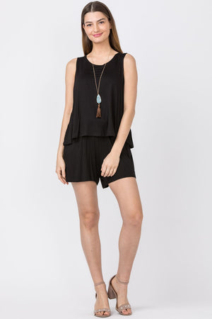 Solid Black Layered Romper_Plus