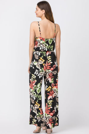 Black Tropical Surplice Spaghetti Strap Jumpsuit