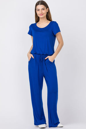 Royal Blue Short Sleeve Jumpsuit