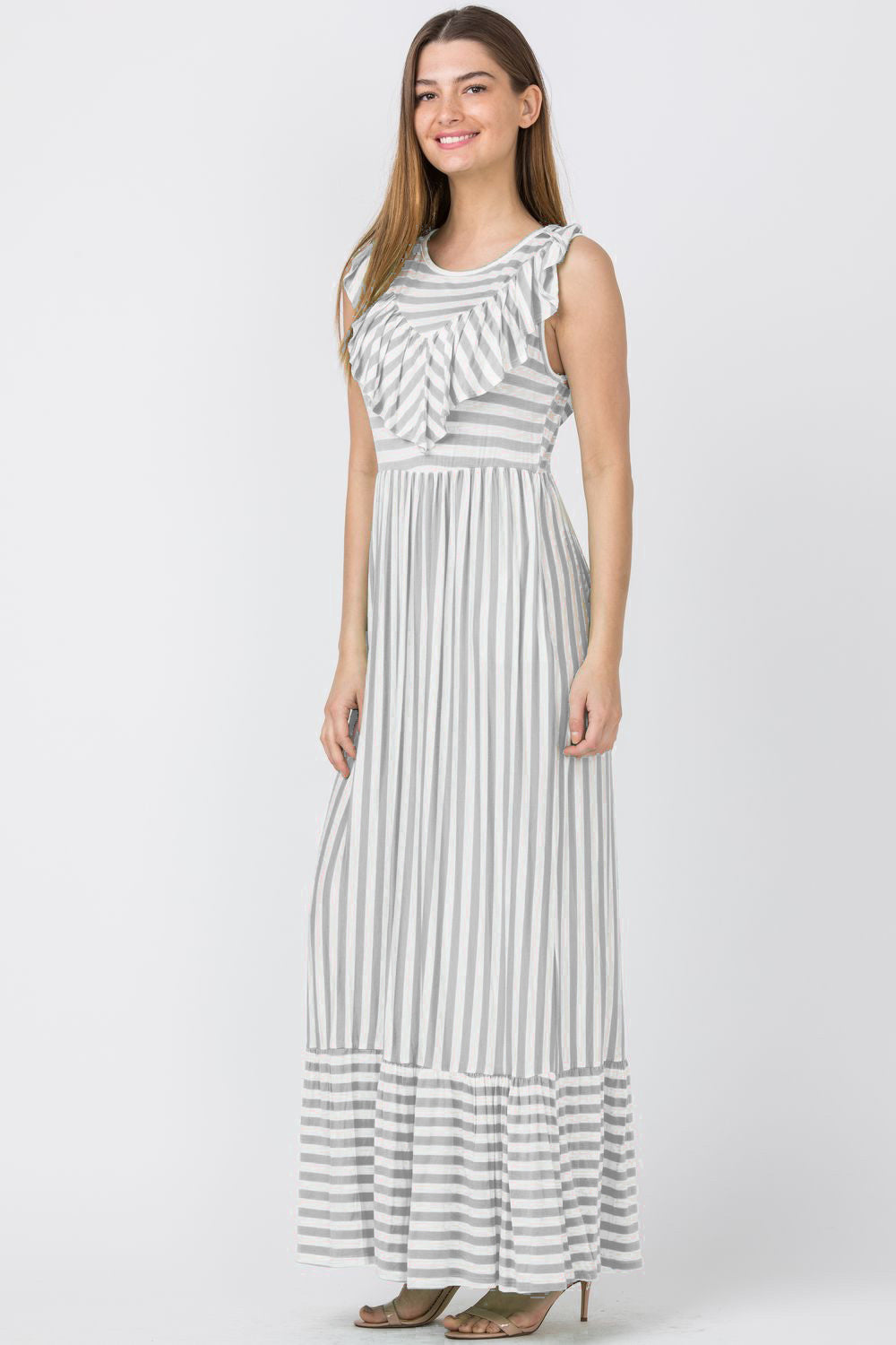 Grey Stripe Front & Back Ruffle Maxi Dress