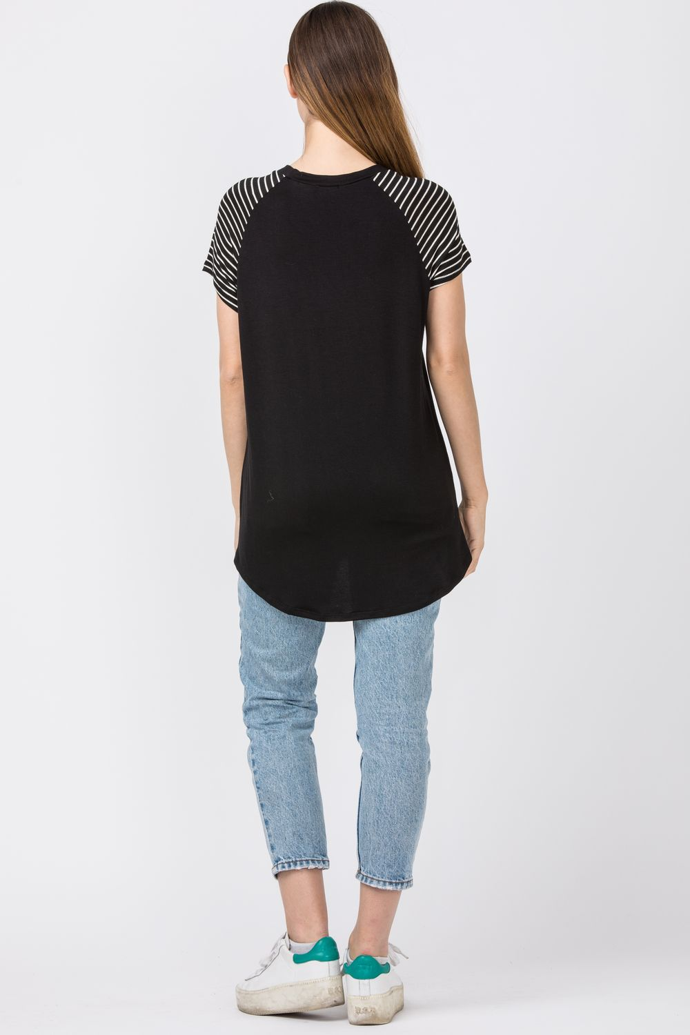 Black Raglan Stripe Sleeve & Chest-Pocket Tunic Top