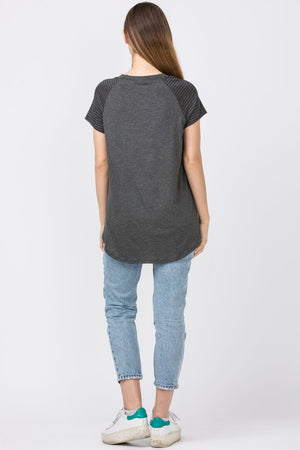 Charcoal Raglan Stripe Sleeve & Chest-Pocket Tunic Top_Plus