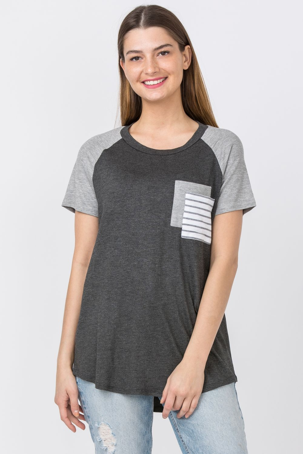 Charcoal Raglan Double Pocket Top