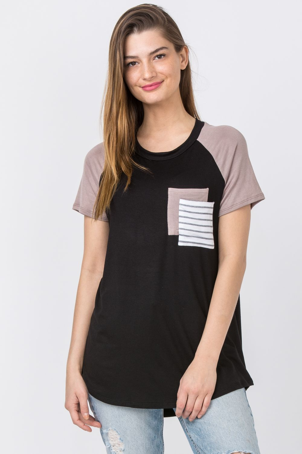 Black Raglan Double Pocket Top