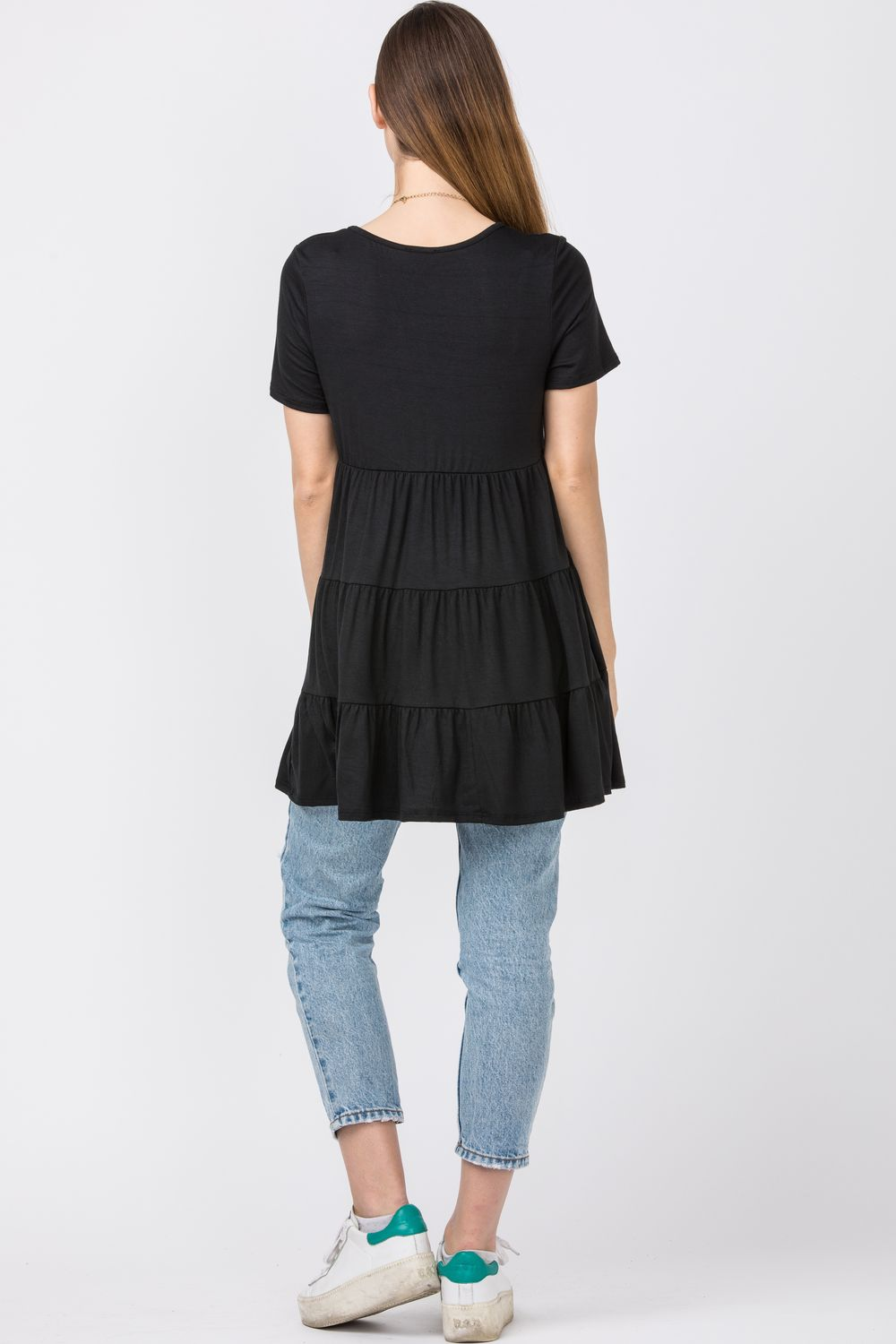 Black Short Sleeve Tiered Tunic