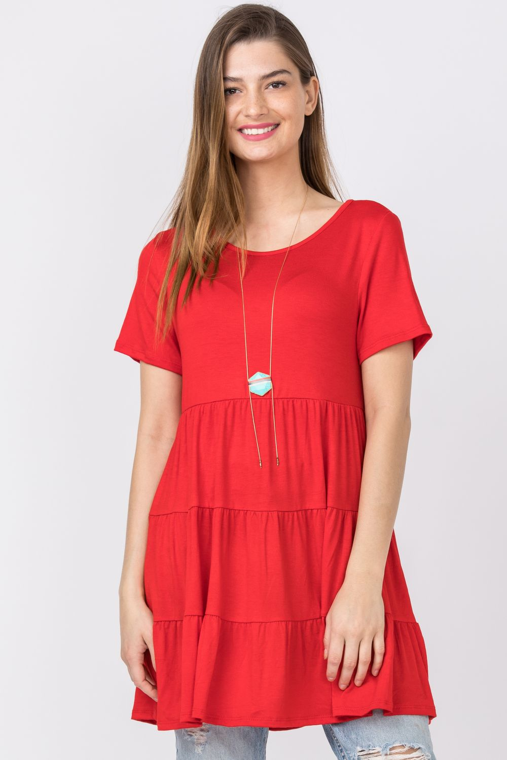Red Short Sleeve Tiered Tunic_Plus