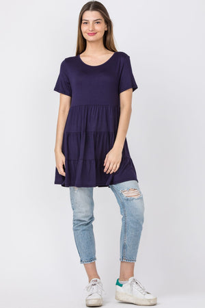 Navy Short Sleeve Tiered Tunic_Plus