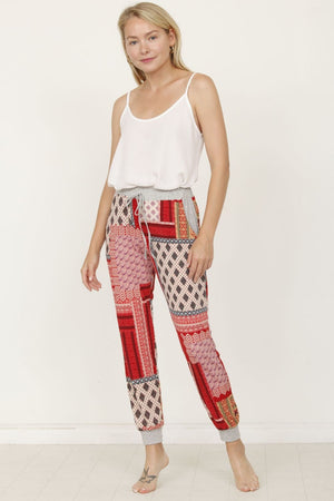 Red Quilted Print Jogger_Plus